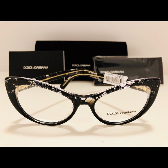 010e1b7be42 Dolce   Gabbana Black Lace Cat Eye Eyeglasses New